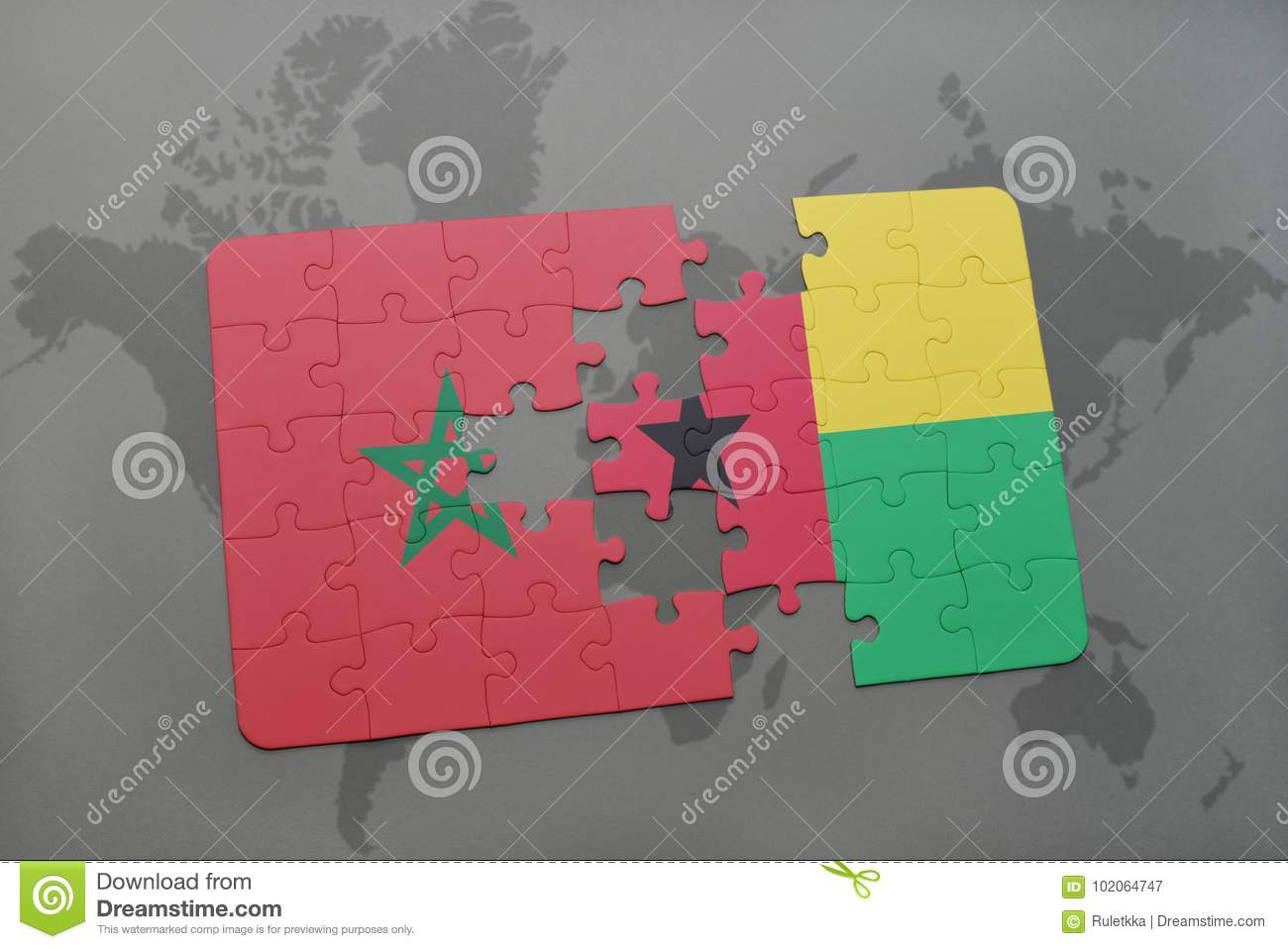 puzzle with the national flag of morocco and guinea bissau on a world map