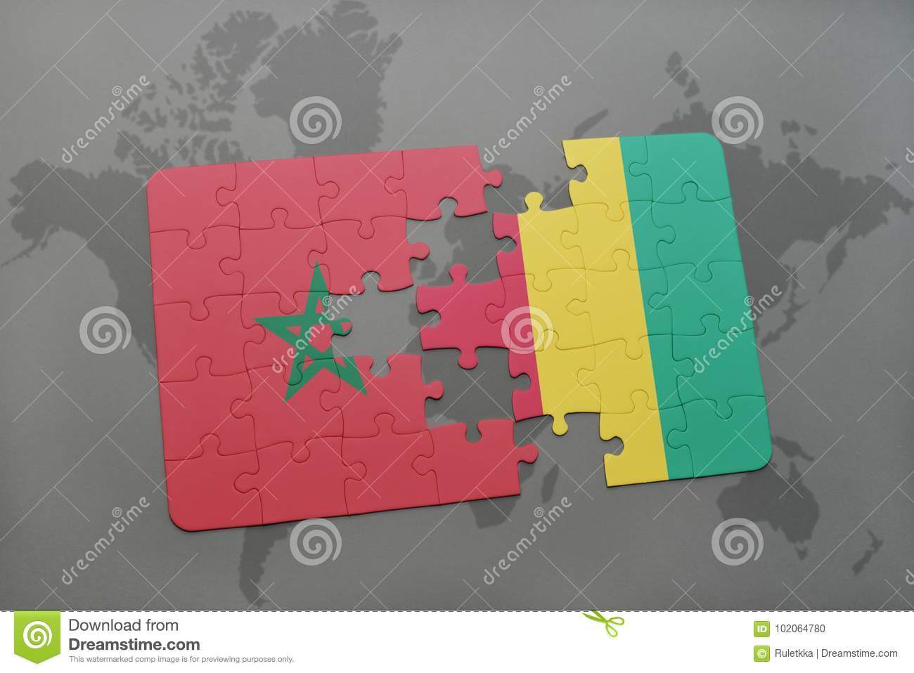 puzzle with the national flag of morocco and guinea on a world map