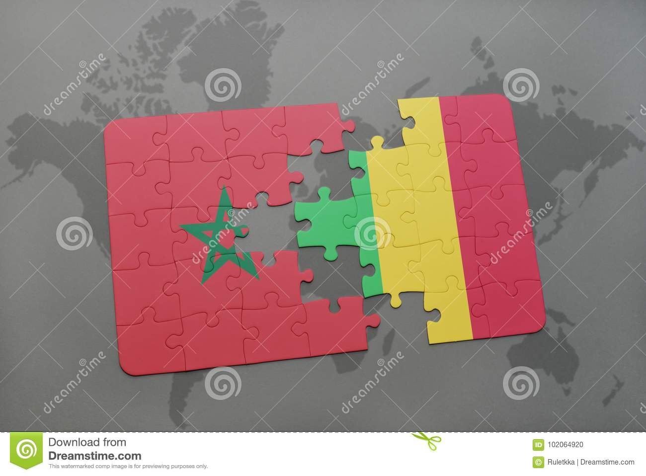 puzzle with the national flag of morocco and mali on a world map