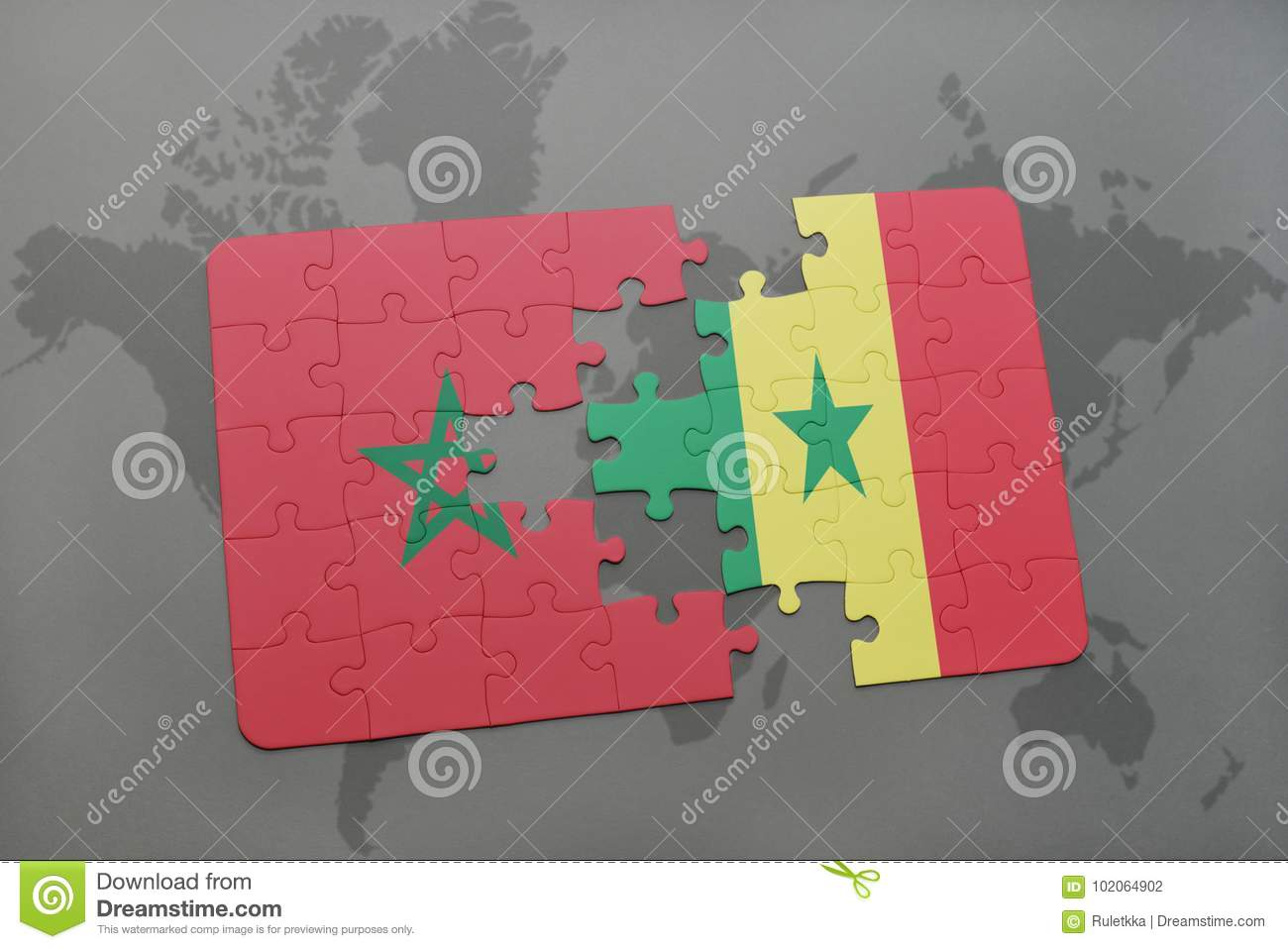 puzzle with the national flag of morocco and senegal on a world map