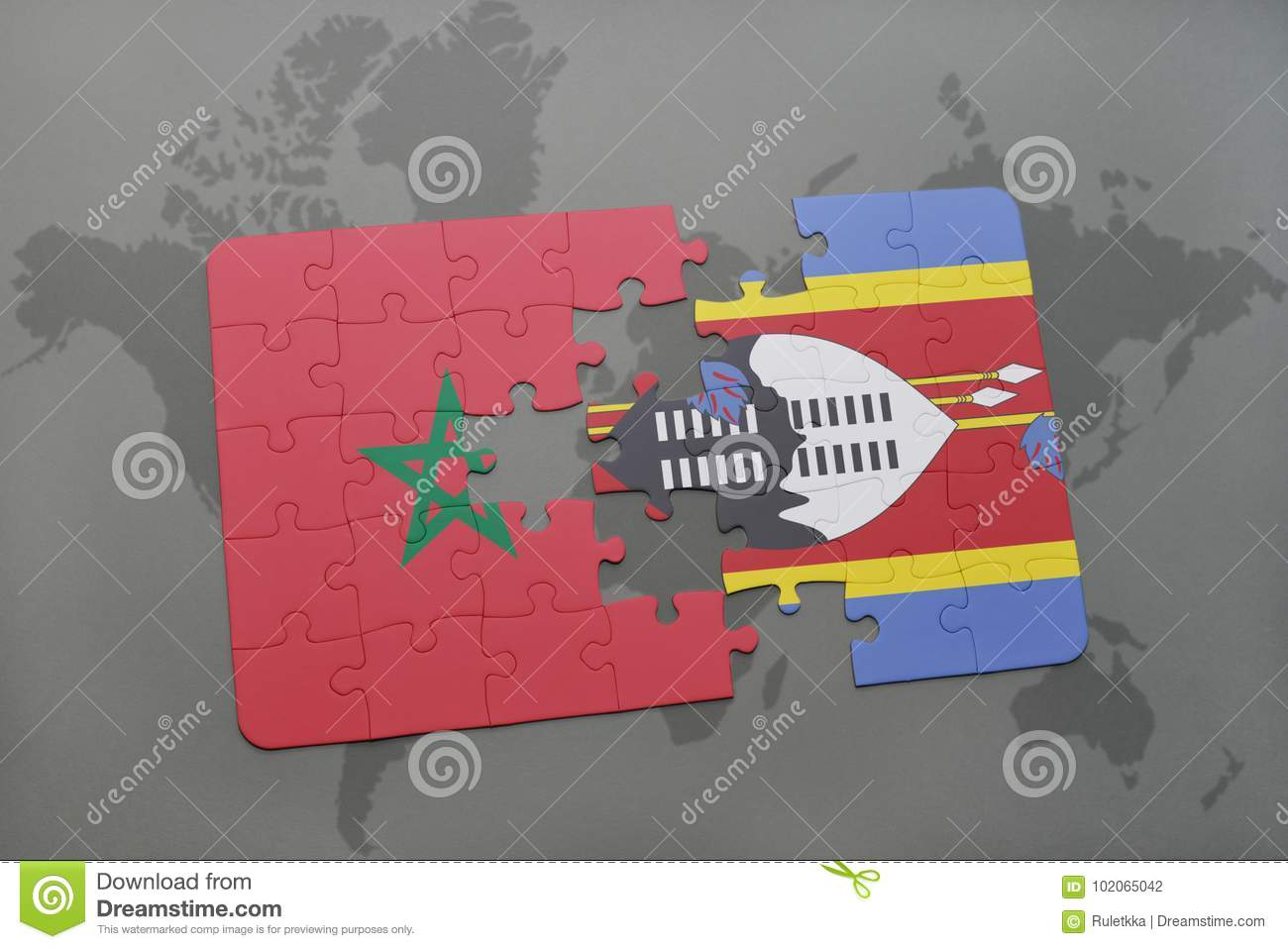 puzzle with the national flag of morocco and swaziland on a world map