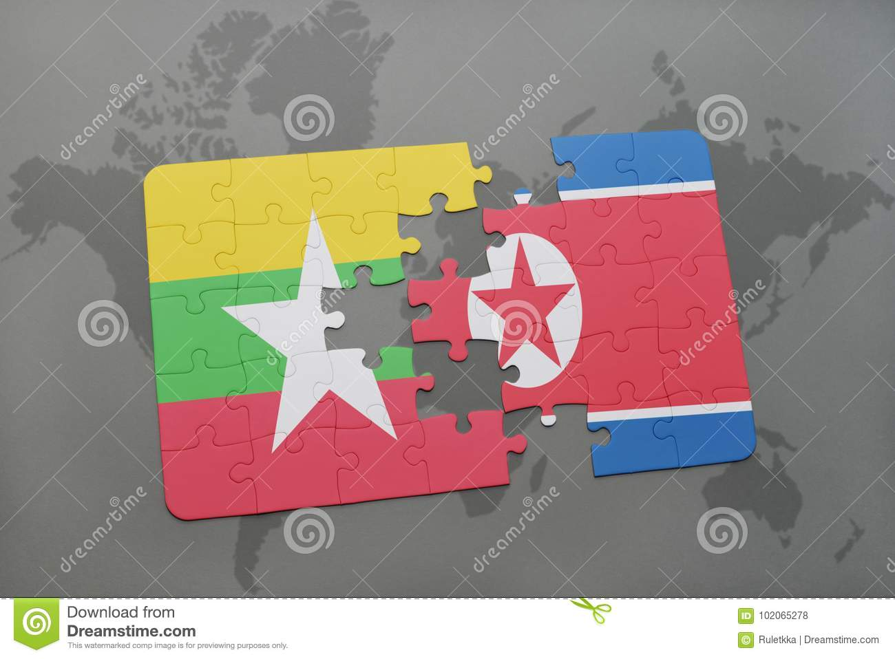 Puzzle With The National Flag Of Myanmar And North Korea On A World ...