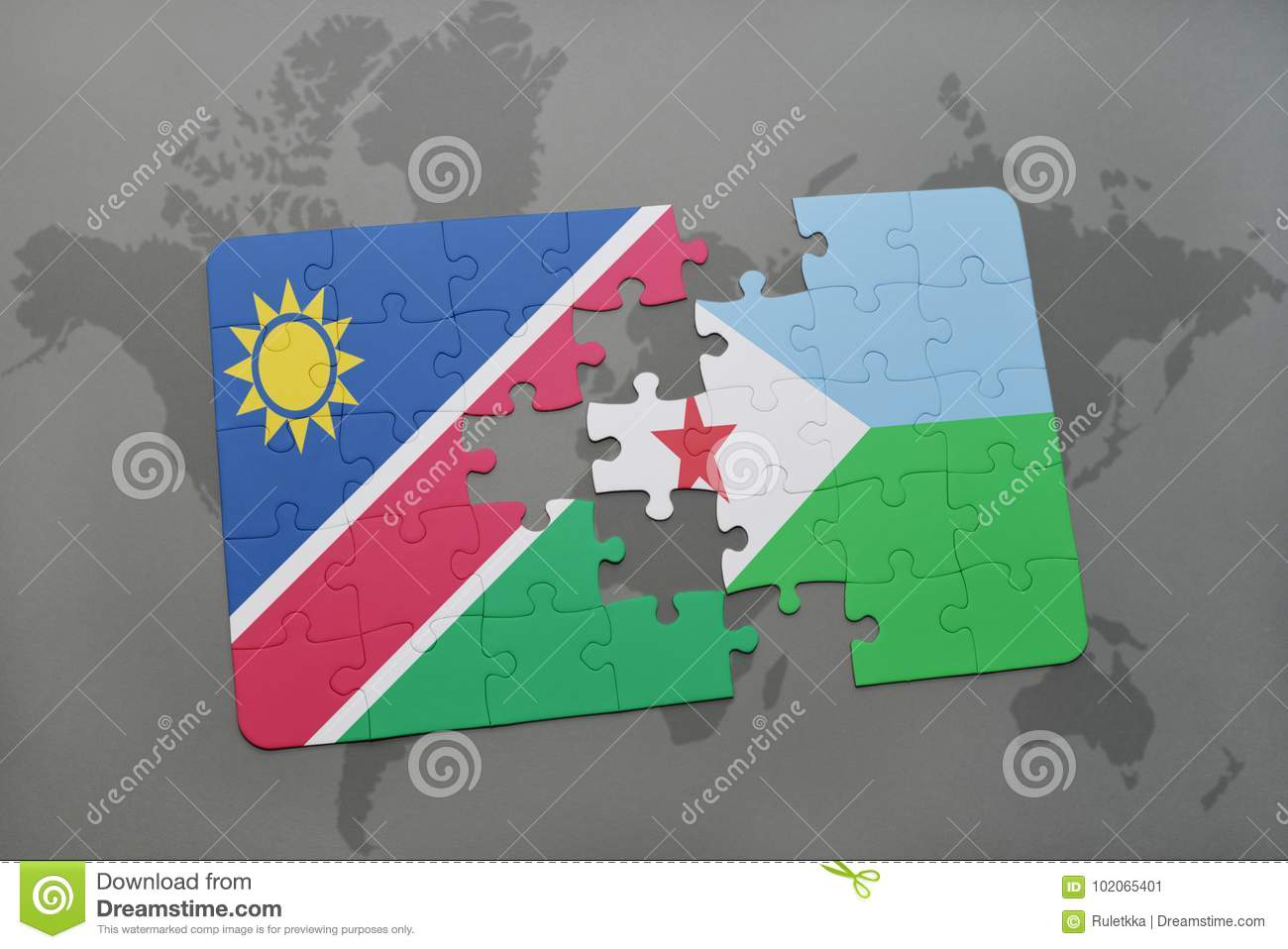 Puzzle with the national flag of namibia and djibouti on a world map download comp gumiabroncs Images