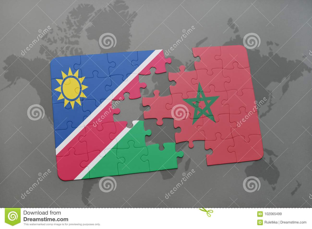 puzzle with the national flag of namibia and morocco on a world map