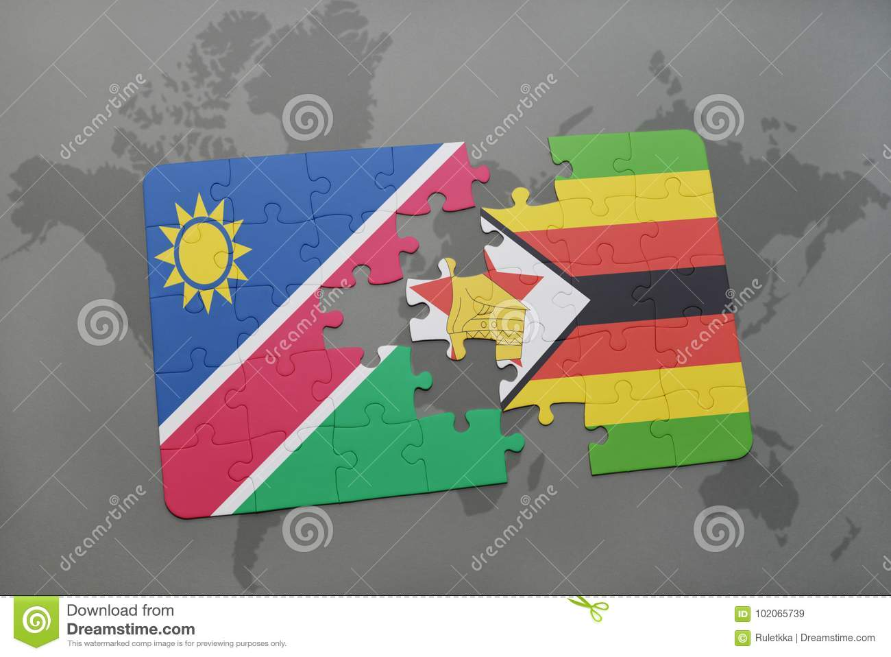 Puzzle With The National Flag Of Namibia And Zimbabwe On A World Map ...