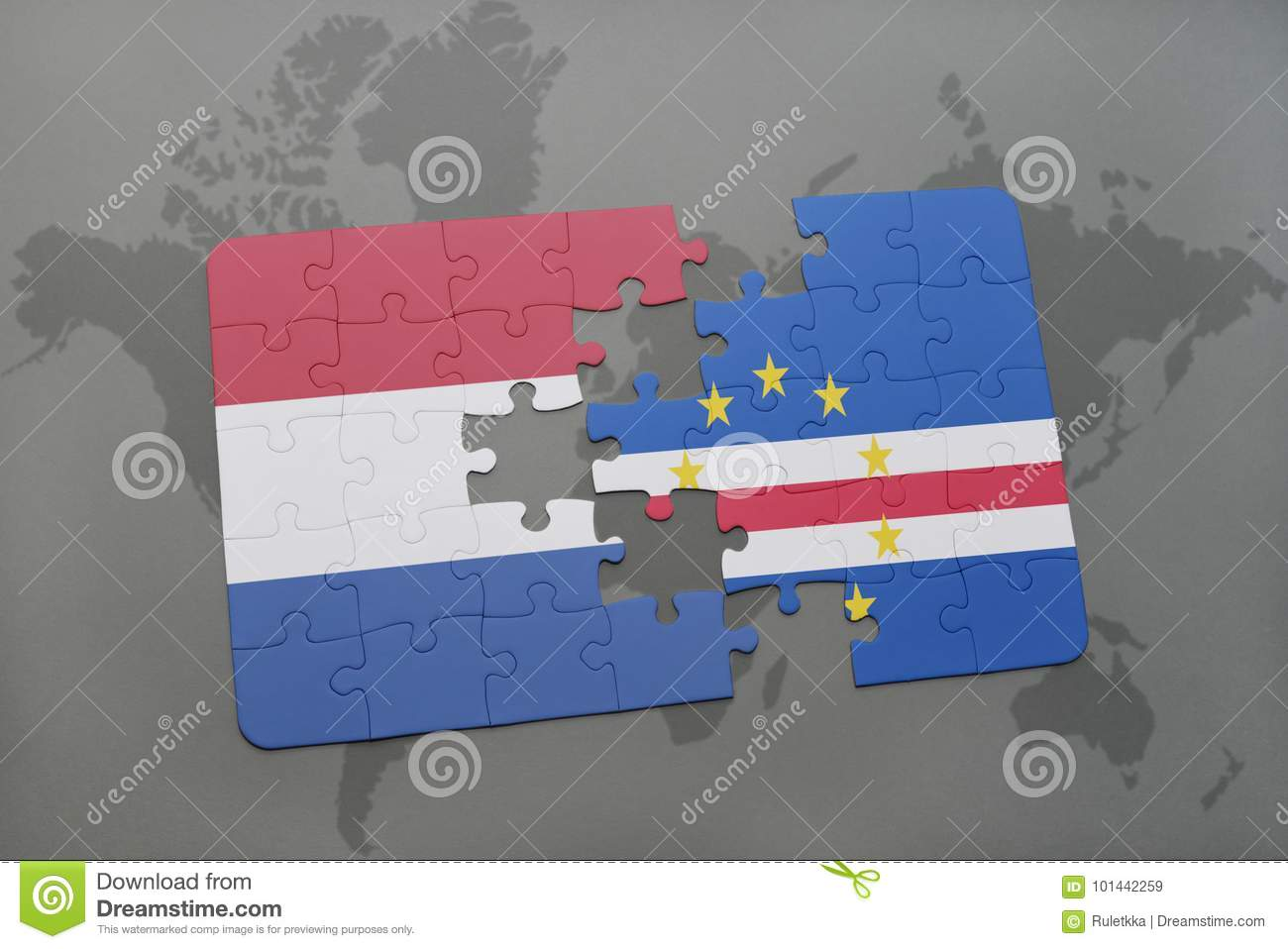 Puzzle With The National Flag Of Netherlands And Cape Verde On A