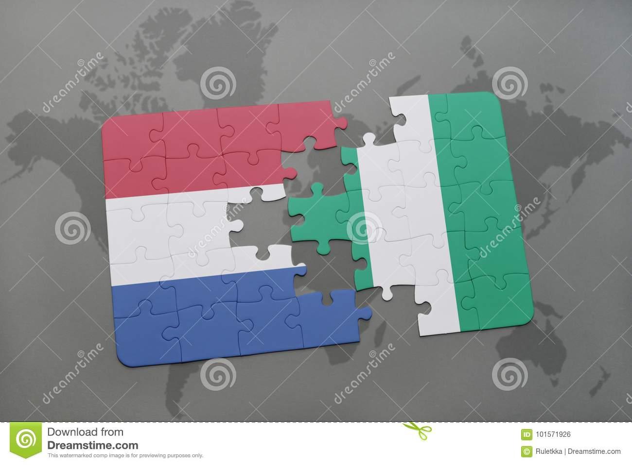 Puzzle With The National Flag Of Netherlands And Nigeria On A World ...