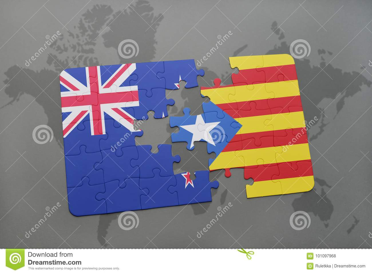 Puzzle with the national flag of new zealand and catalonia on a download puzzle with the national flag of new zealand and catalonia on a world map background gumiabroncs Image collections