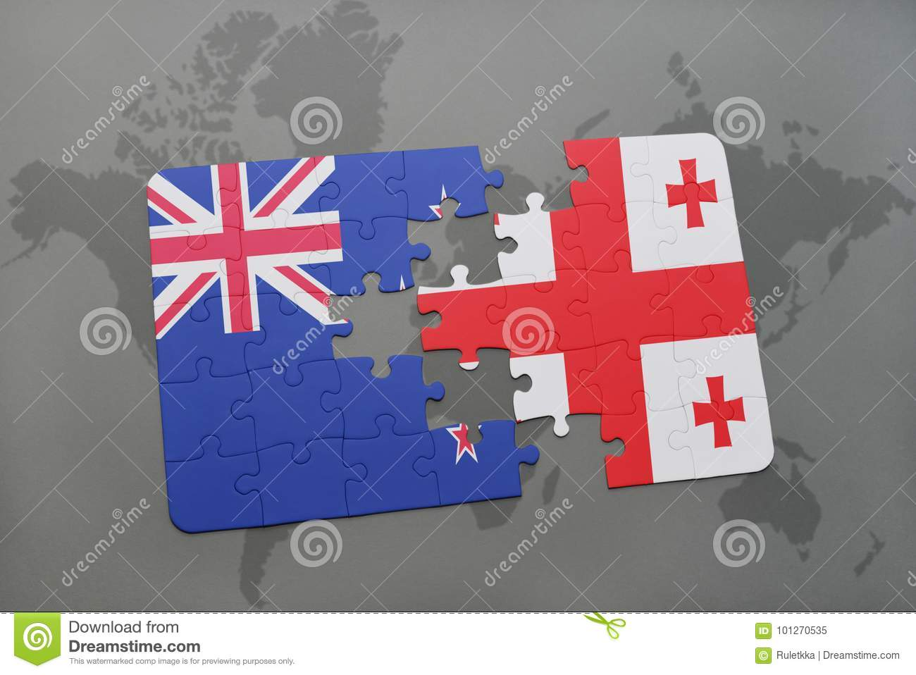 Puzzle with the national flag of new zealand and georgia on a world download comp gumiabroncs Image collections