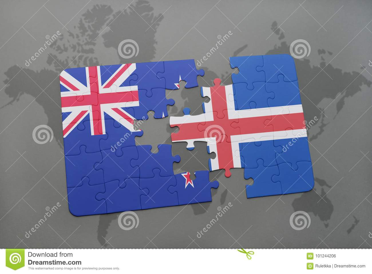 Puzzle with the national flag of new zealand and iceland on a world puzzle with the national flag of new zealand and iceland on a world map background stock photo image of against concept 101244206 gumiabroncs Choice Image