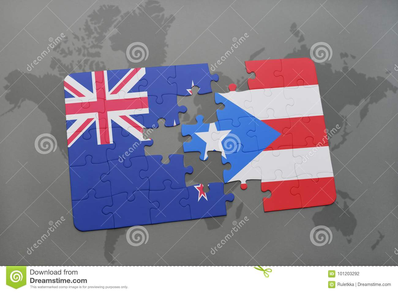 Puzzle with the national flag of new zealand and puerto rico on a download puzzle with the national flag of new zealand and puerto rico on a world map gumiabroncs Gallery