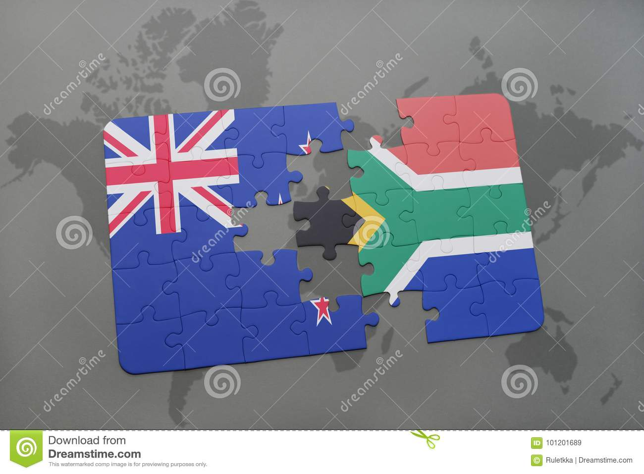 Puzzle With The National Flag Of New Zealand And South Africa On A