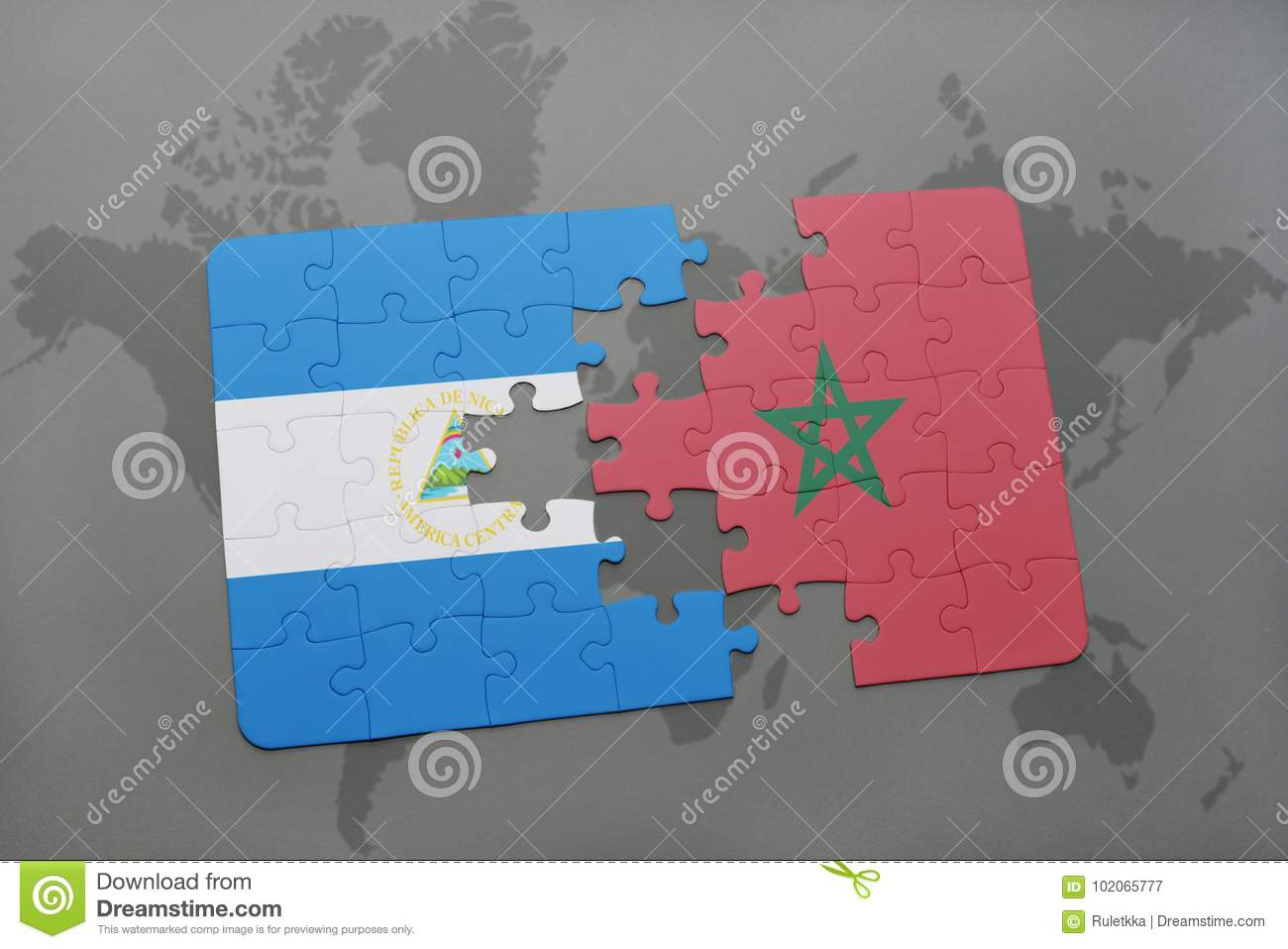 puzzle with the national flag of nicaragua and morocco on a world map