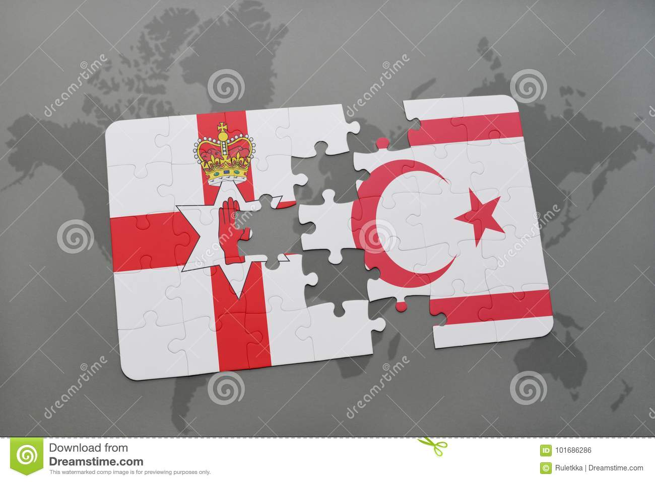 Puzzle with the national flag of northern ireland and northern download puzzle with the national flag of northern ireland and northern cyprus on a world map gumiabroncs Images