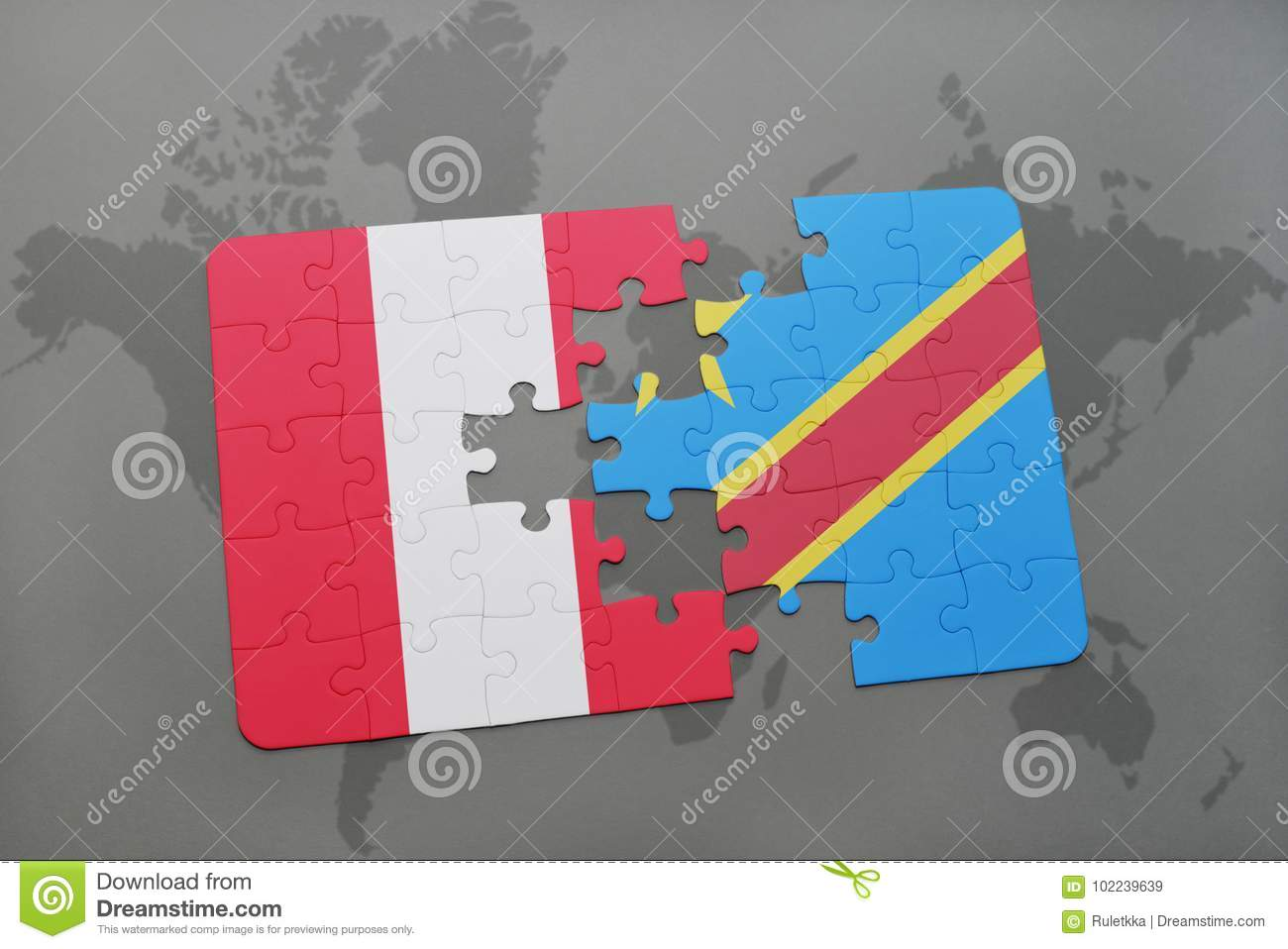 Puzzle With The National Flag Of Peru And Democratic Republic Of The ...