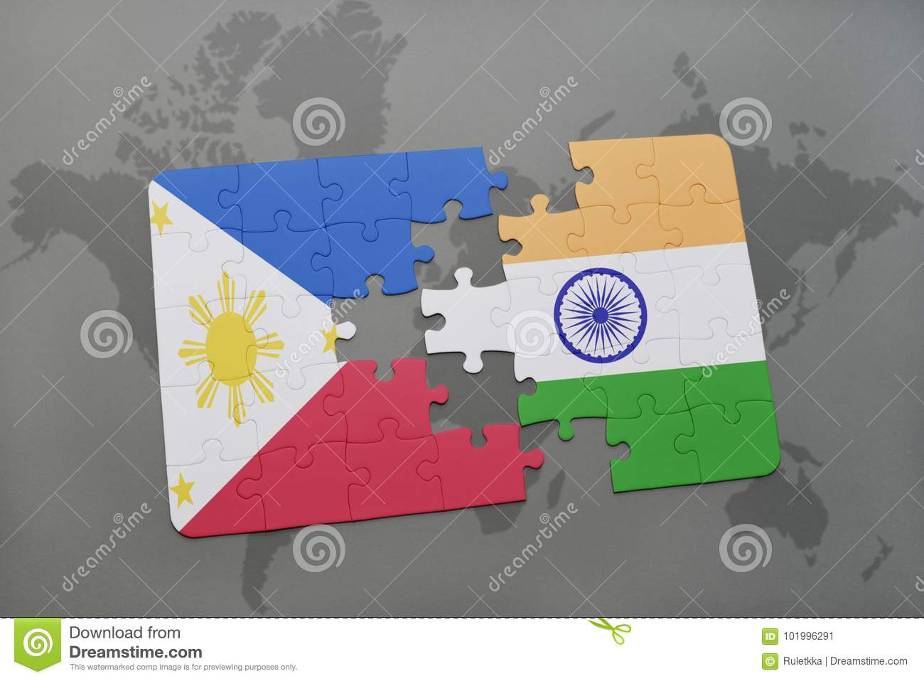 Puzzle with the national flag of philippines and india on a world puzzle with the national flag of philippines and india on a world map background stock illustration illustration of against aggression 101996291 gumiabroncs Choice Image