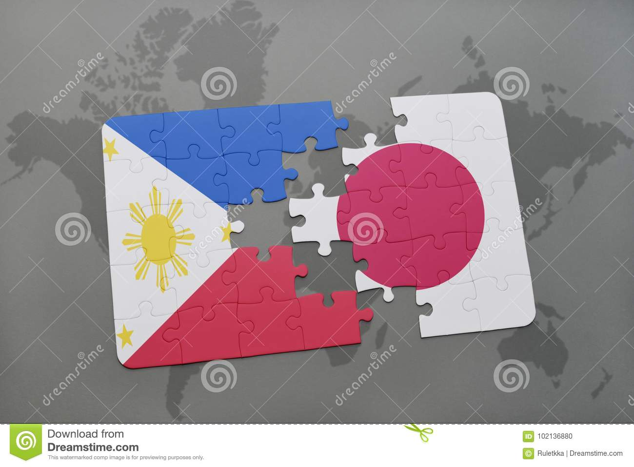 Puzzle with the national flag of philippines and japan on a world download puzzle with the national flag of philippines and japan on a world map background gumiabroncs Choice Image
