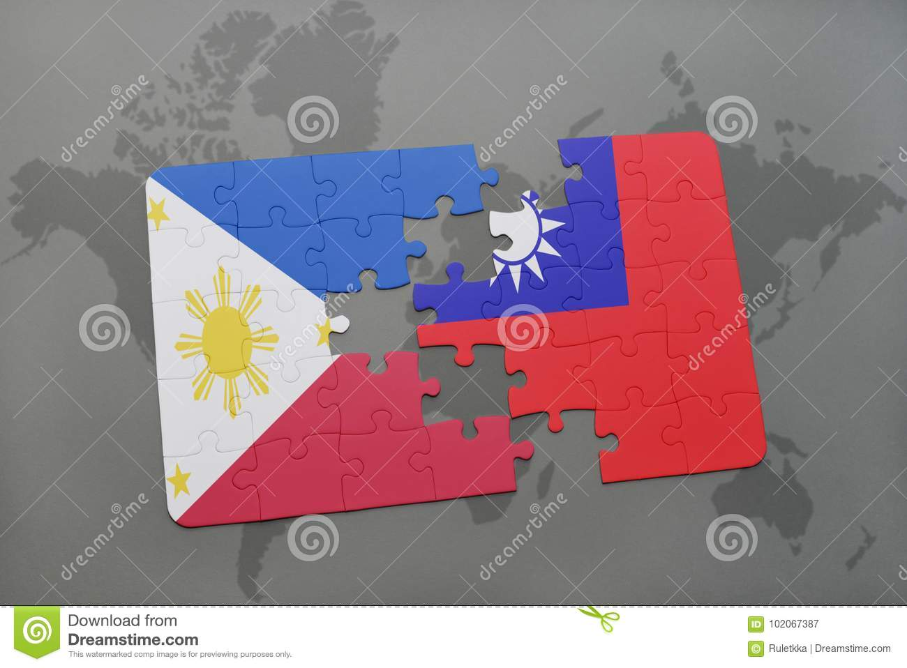 Puzzle with the national flag of philippines and taiwan on a world download puzzle with the national flag of philippines and taiwan on a world map background gumiabroncs Images