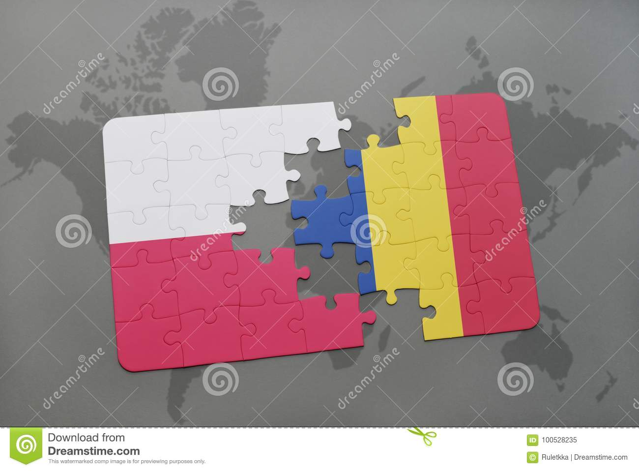Puzzle with the national flag of poland and romania on a world map puzzle with the national flag of poland and romania on a world map background gumiabroncs Choice Image