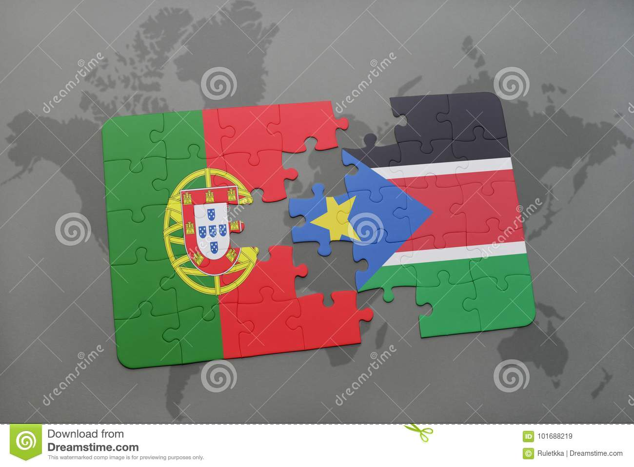 Puzzle With The National Flag Of Portugal And South Sudan On A World ...
