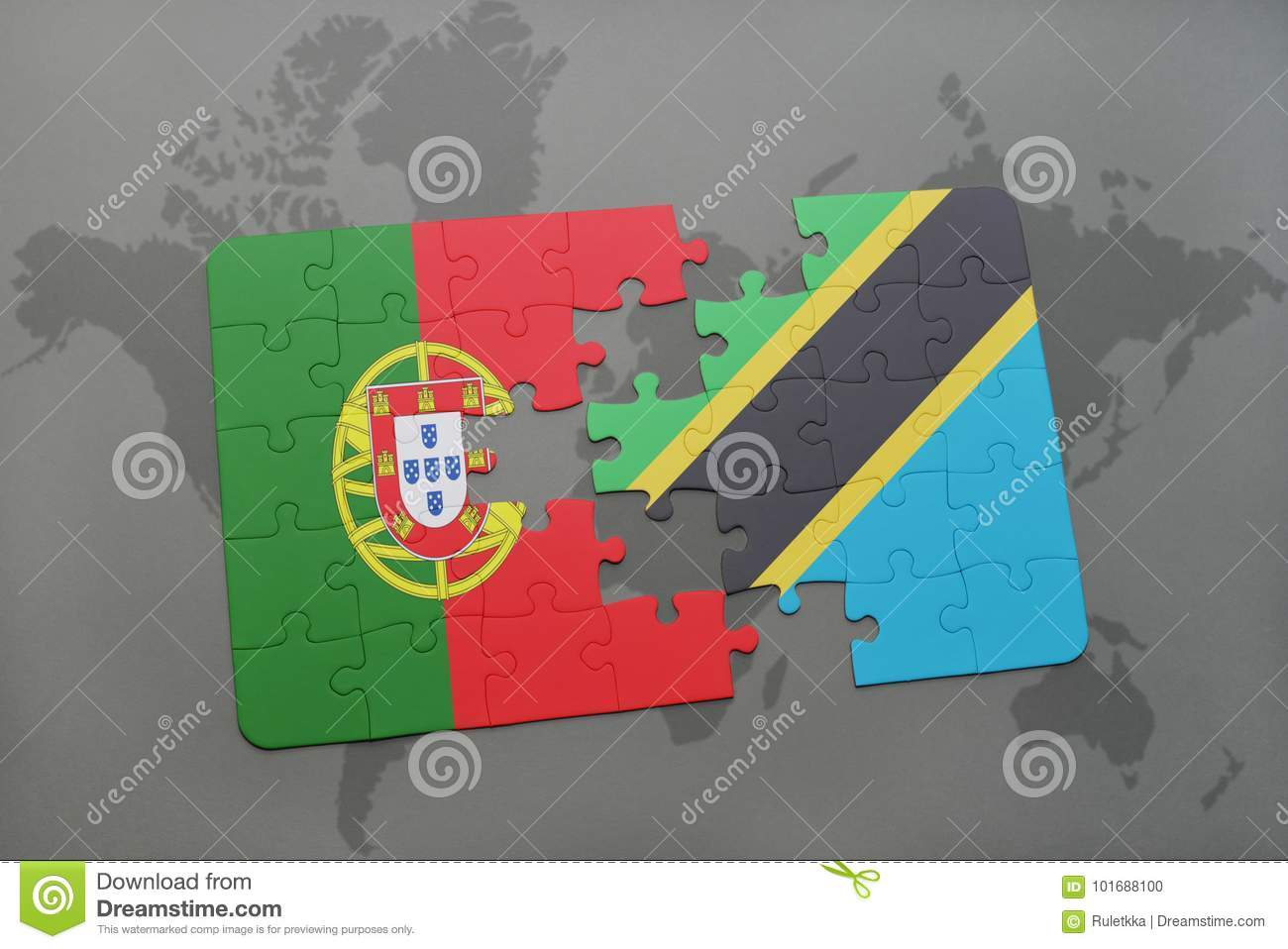Puzzle with the national flag of portugal and tanzania on a world download puzzle with the national flag of portugal and tanzania on a world map background gumiabroncs Images