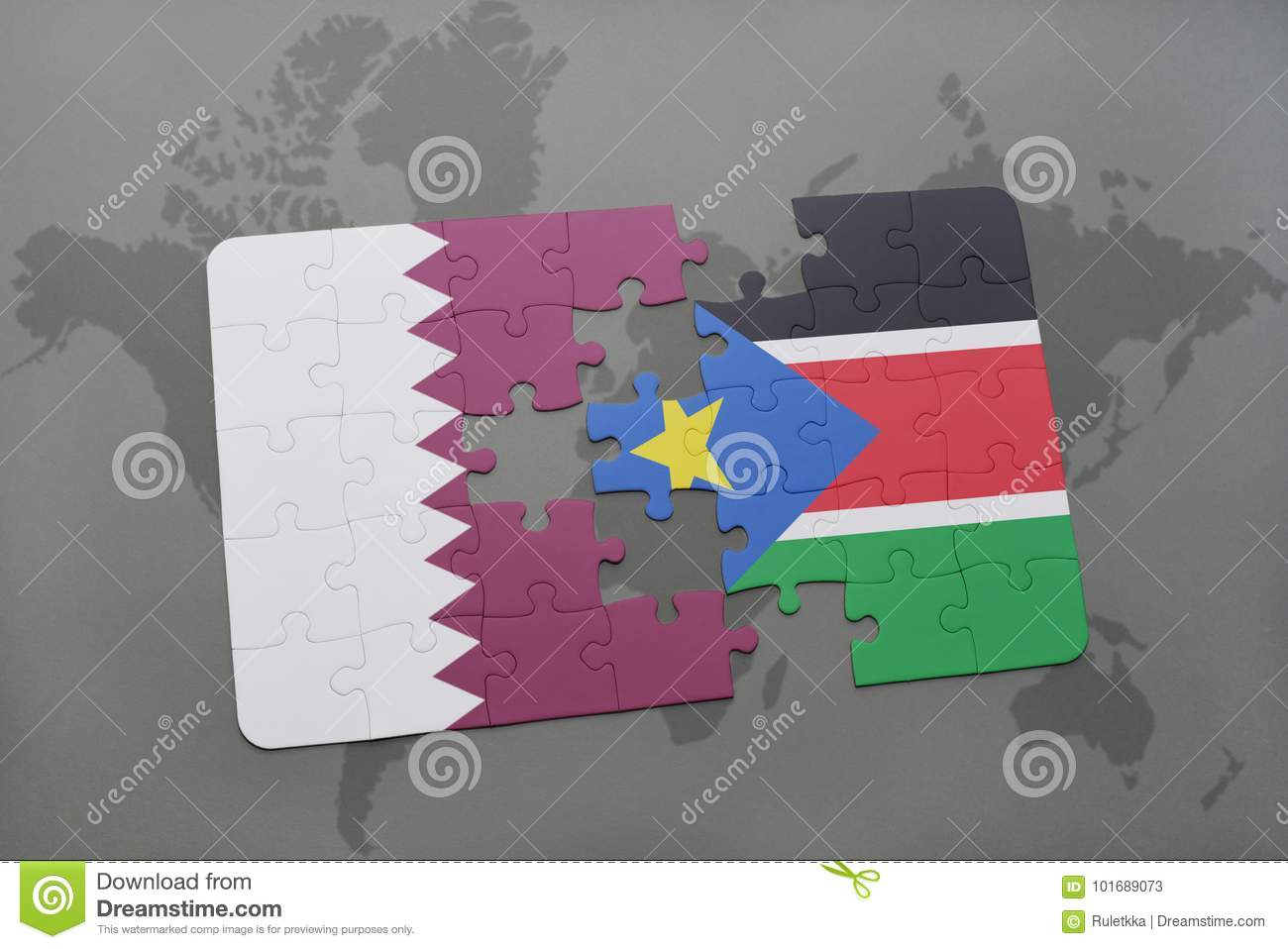Puzzle With The National Flag Of Qatar And South Sudan On A World ...
