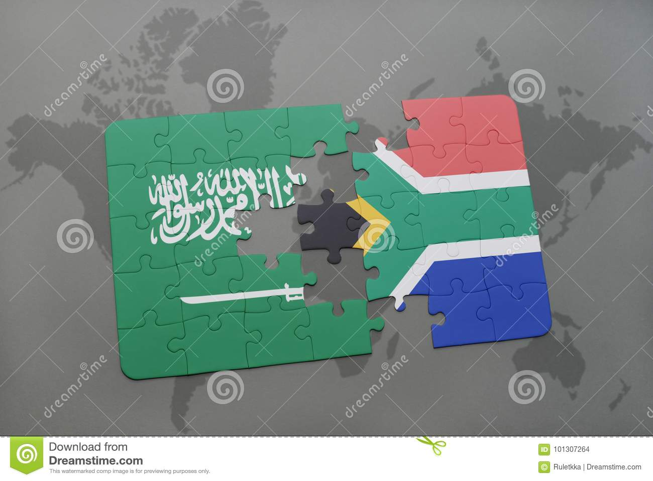 Puzzle With The National Flag Of Saudi Arabia And South Africa On