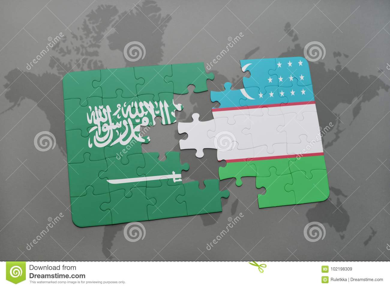 Puzzle With The National Flag Of Saudi Arabia And Uzbekistan On A ...