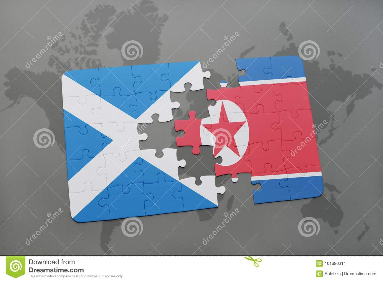 Puzzle With The National Flag Of Scotland And North Korea On A World ...