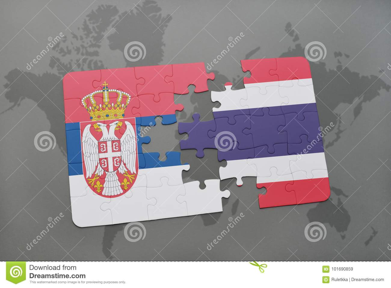 puzzle with the national flag of serbia and thailand on a world map