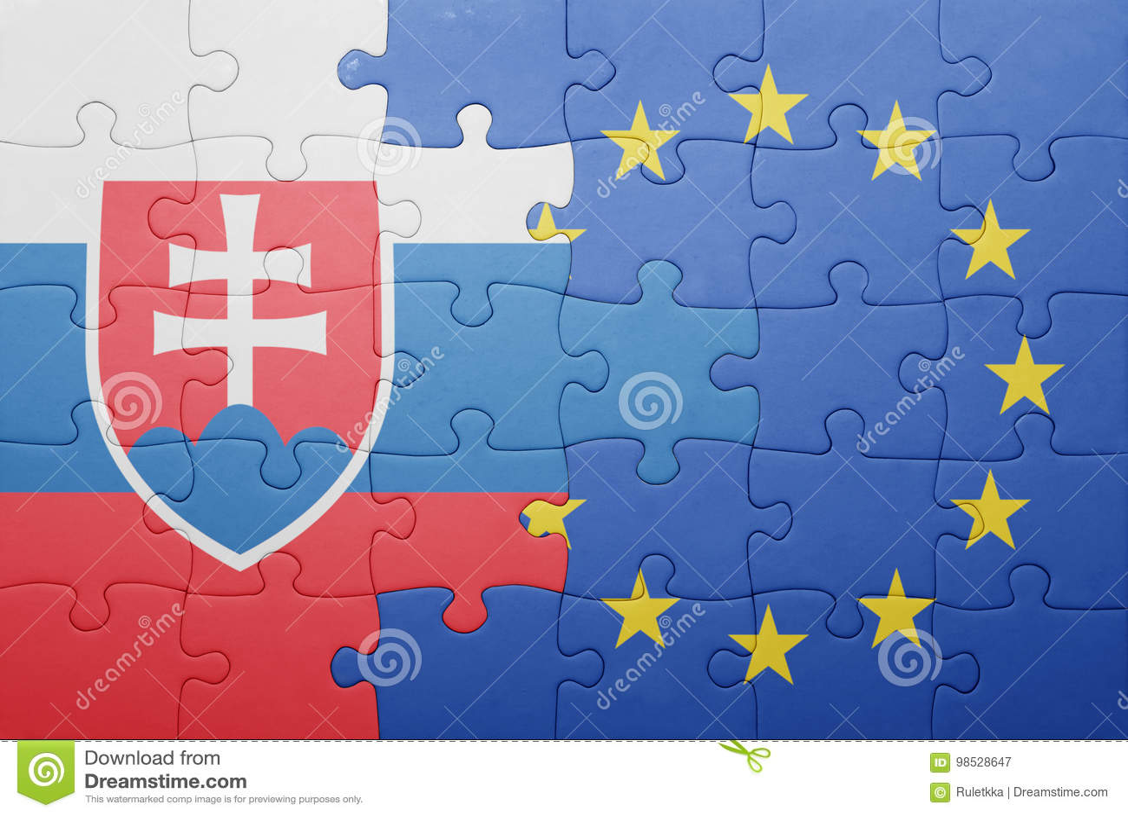 55ecc39e9f Puzzle With The National Flag Of Slovakia And European Union Stock ...