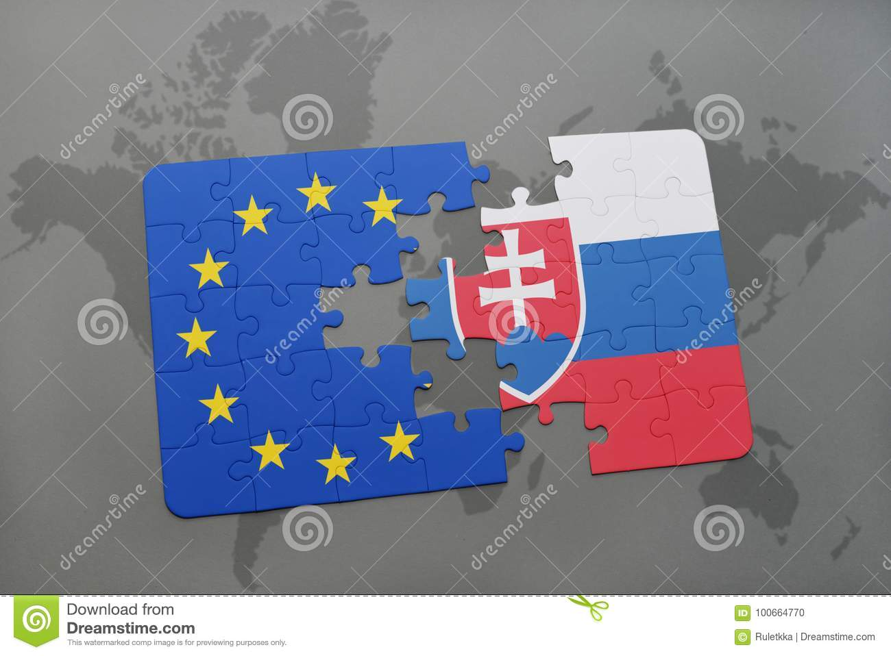 Puzzle with the national flag of slovakia and european union on a puzzle with the national flag of slovakia and european union on a world map background gumiabroncs Choice Image