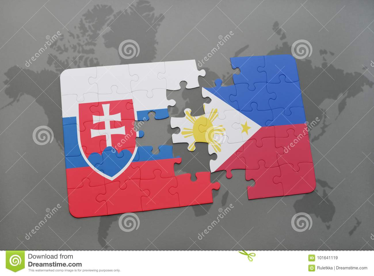 Puzzle With The National Flag Of Slovakia And Philippines On ...