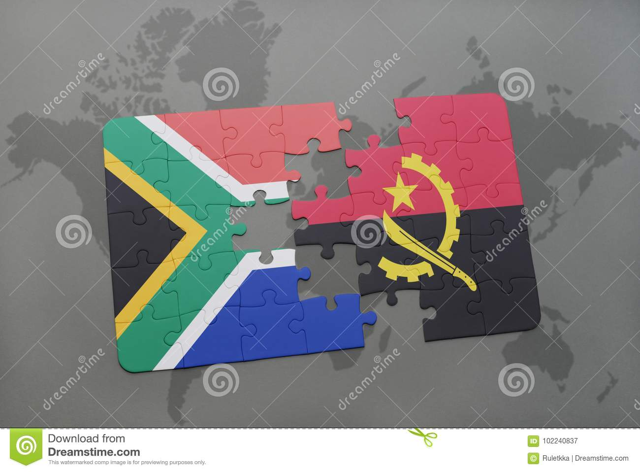 Puzzle with the national flag of south africa and angola on a world download puzzle with the national flag of south africa and angola on a world map gumiabroncs Choice Image