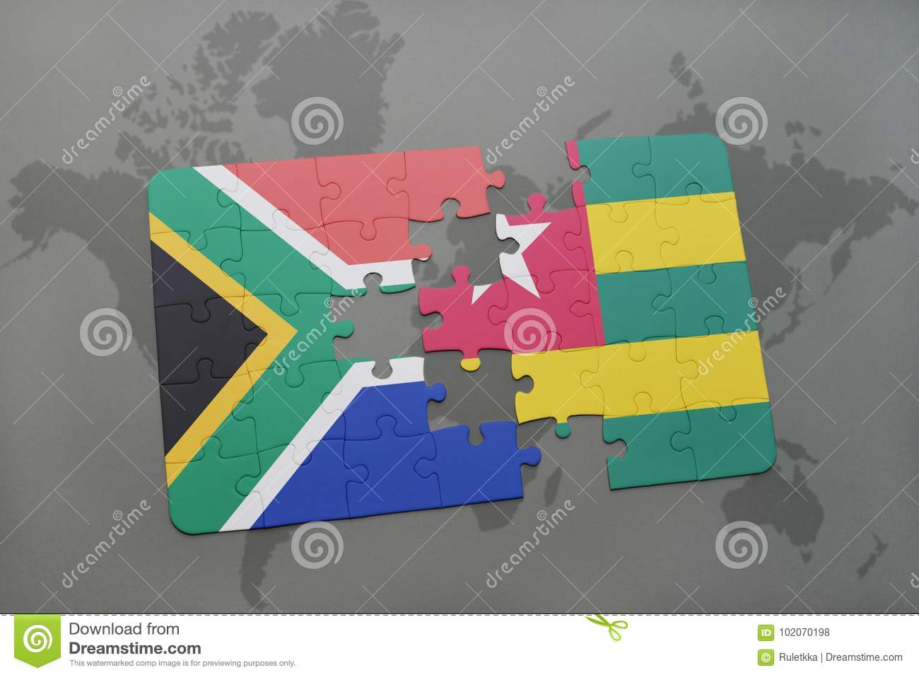 Puzzle with the national flag of south africa and togo on a world download puzzle with the national flag of south africa and togo on a world map gumiabroncs Image collections