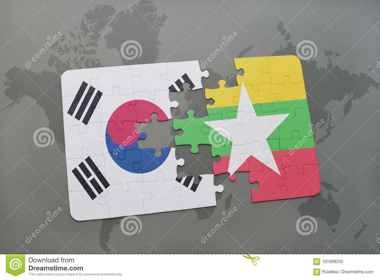 Puzzle with the national flag of south korea and myanmar on a world puzzle with the national flag of south korea and myanmar on a world map background gumiabroncs Choice Image