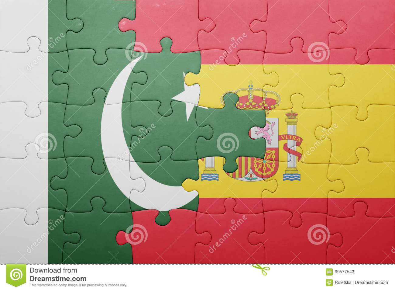 Puzzle With The National Flag Of Spain And Pakistan Stock