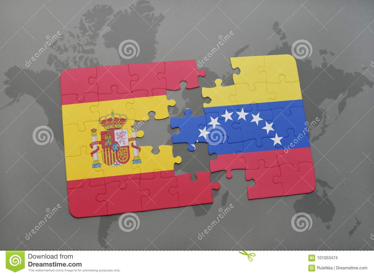 Puzzle With The National Flag Of Spain And Venezuela On A World Map ...