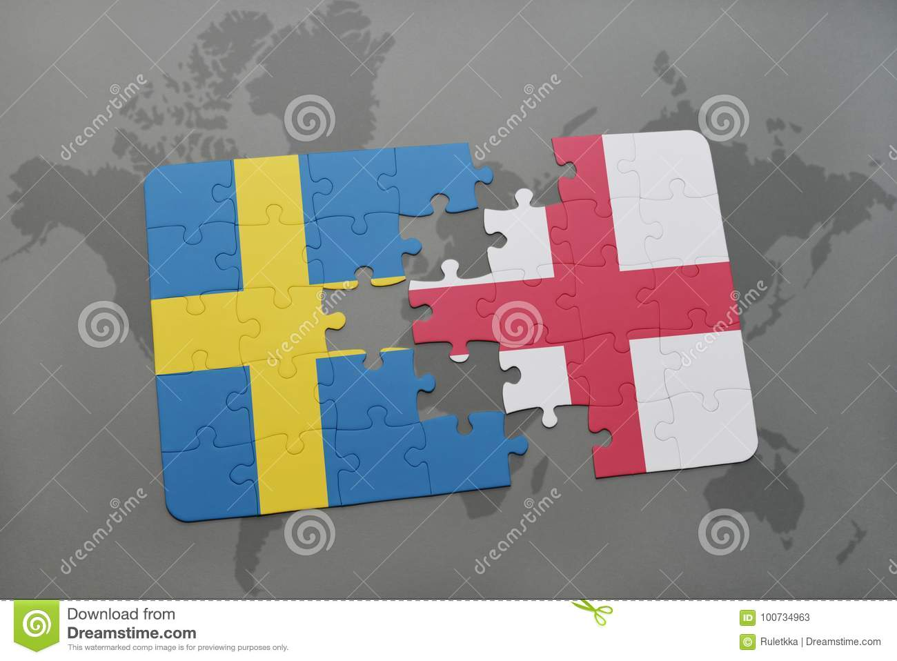 Puzzle With The National Flag Of Sweden And England On A World Map ...