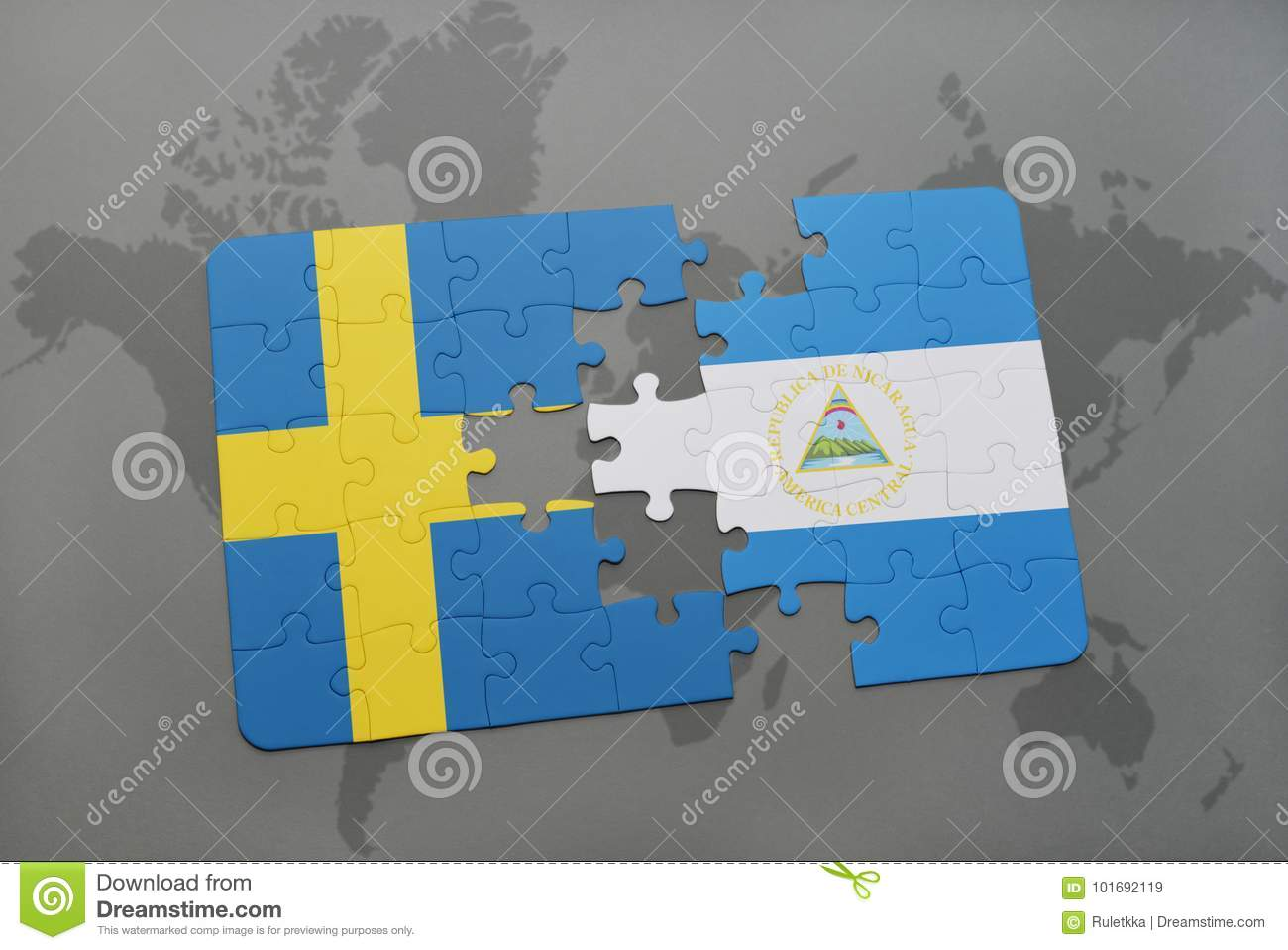 Puzzle With The National Flag Of Sweden And Nicaragua On A World Map ...