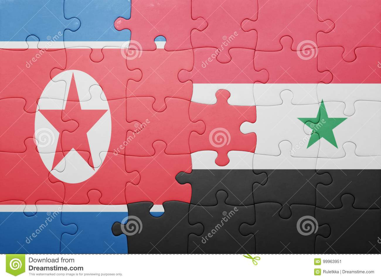 Puzzle With The National Flag Of Syria And North Korea ...