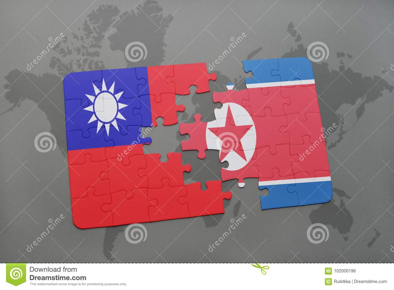 Puzzle with the national flag of taiwan and north korea on a world download puzzle with the national flag of taiwan and north korea on a world map background gumiabroncs Image collections