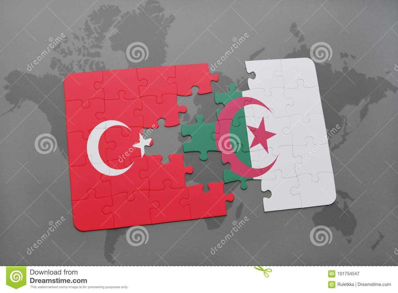 puzzle with the national flag of turkey and algeria on a world map