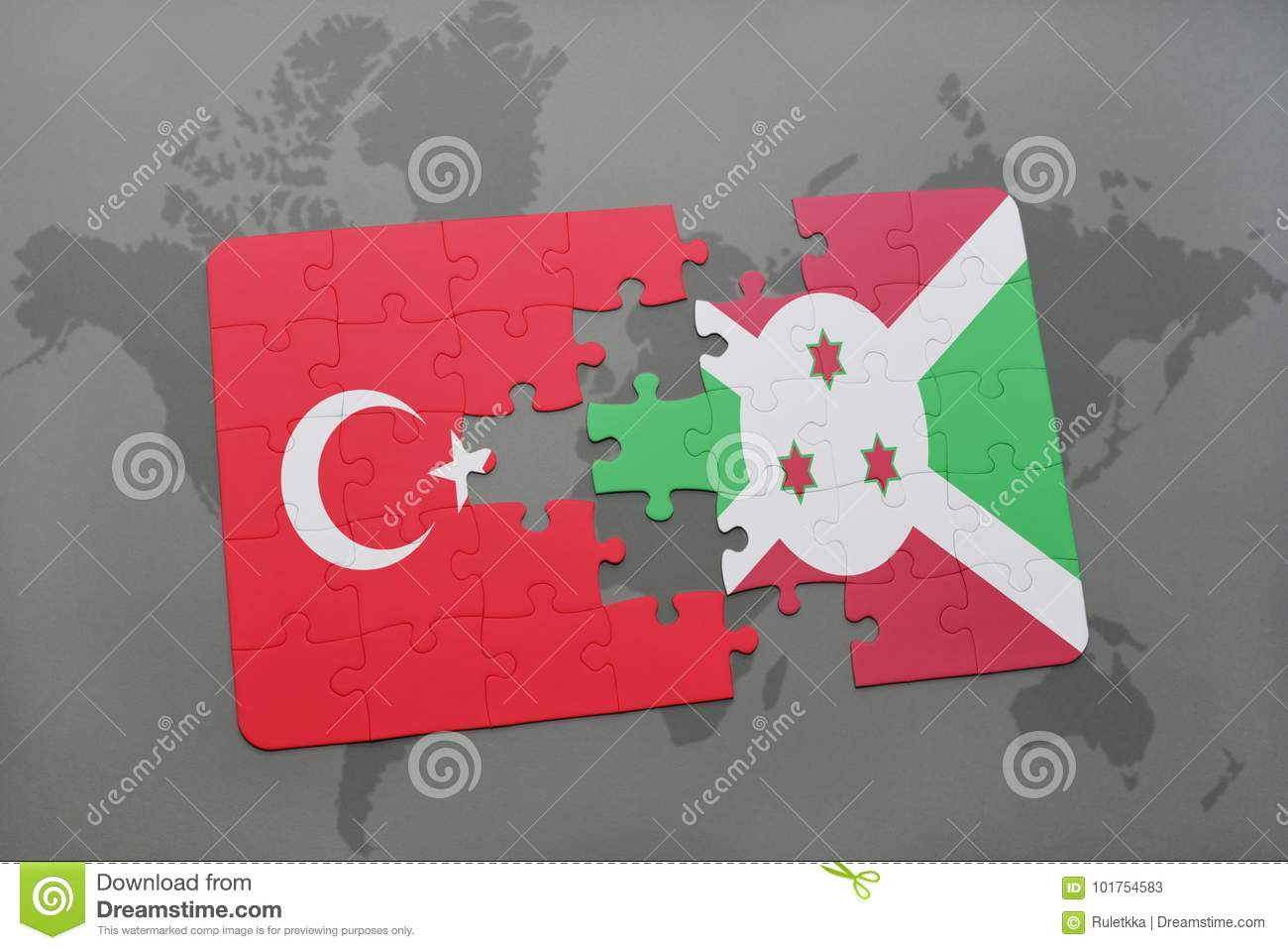 puzzle with the national flag of turkey and burundi on a world map