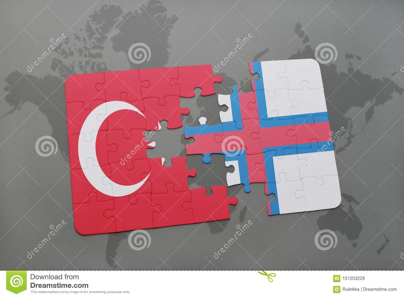 puzzle with the national flag of turkey and faroe islands on a world map background.