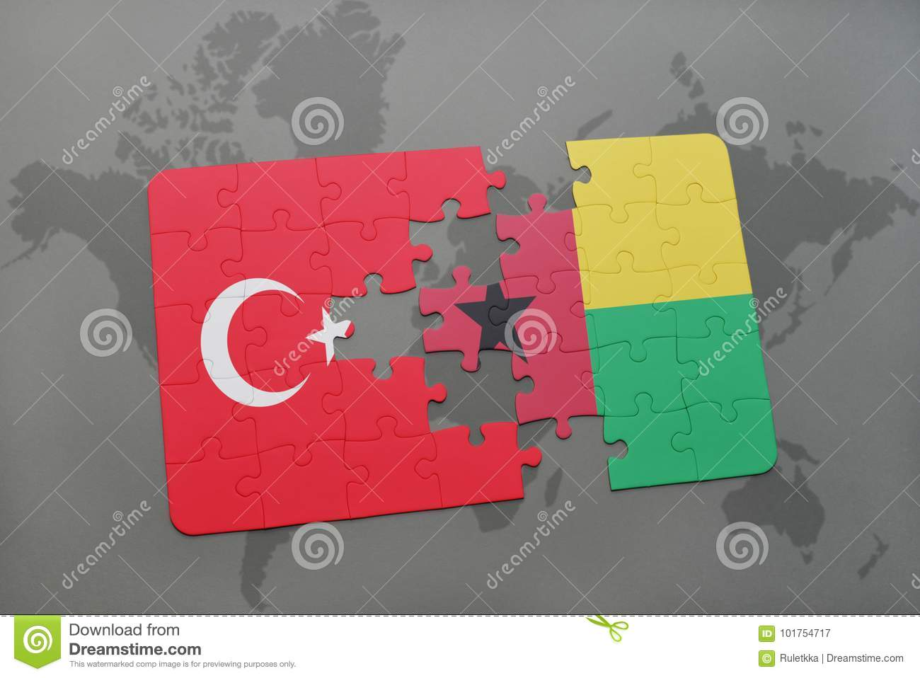 puzzle with the national flag of turkey and guinea bissau on a world map