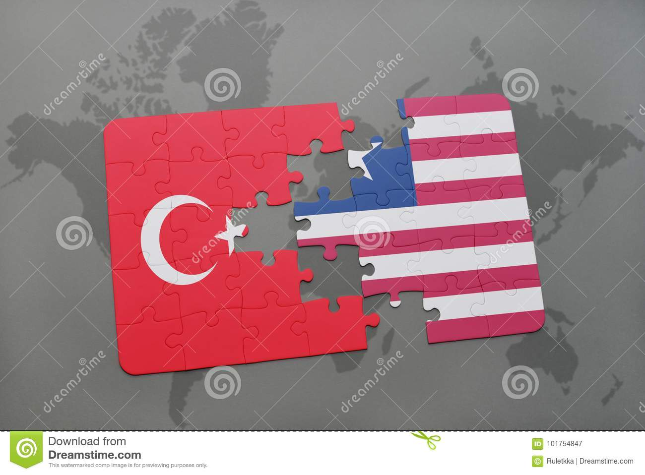 puzzle with the national flag of turkey and liberia on a world map
