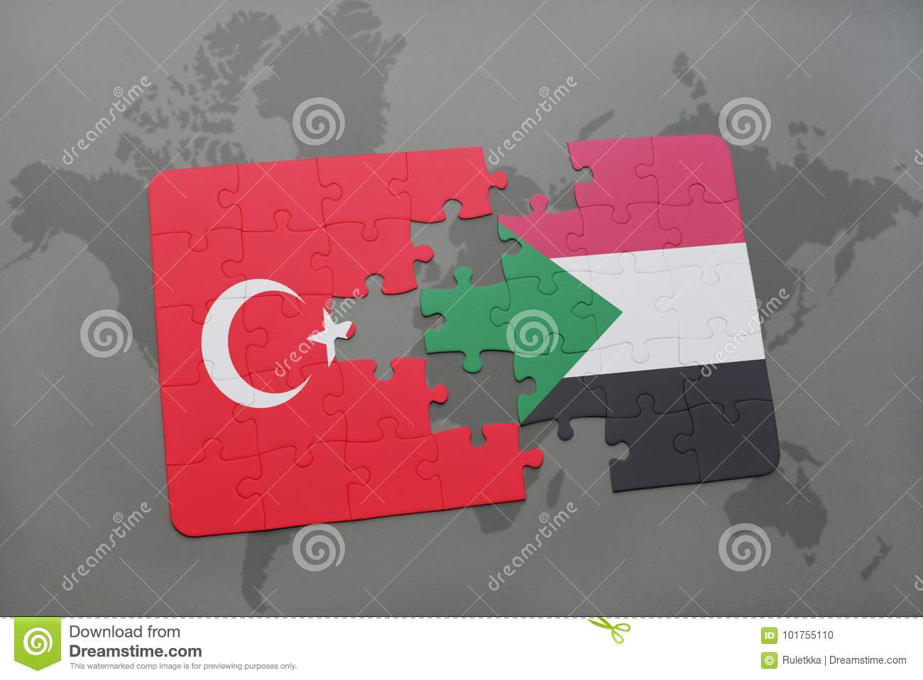 puzzle with the national flag of turkey and sudan on a world map