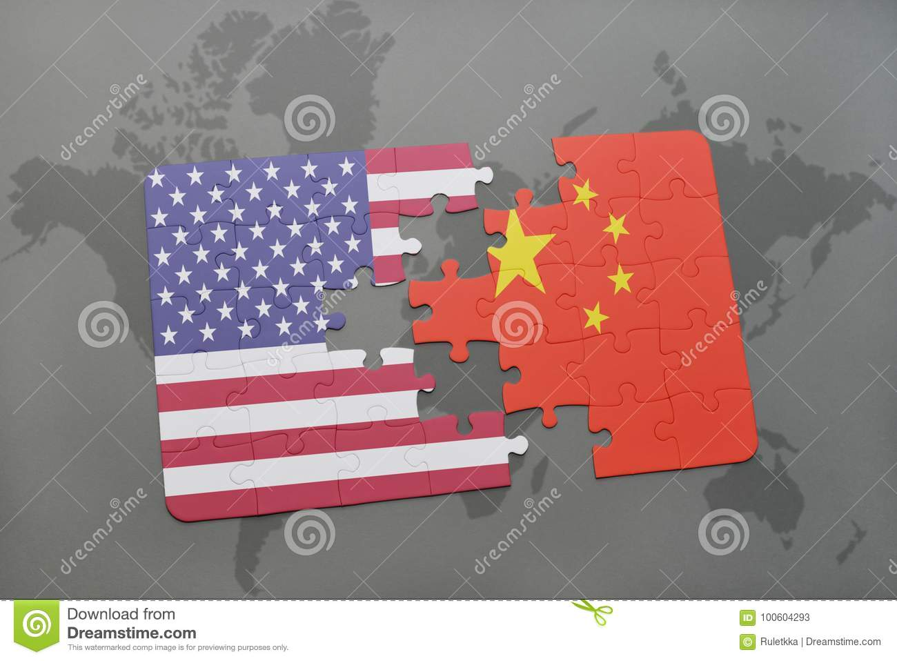 China Map Puzzle.Puzzle With The National Flag Of United States Of America And China