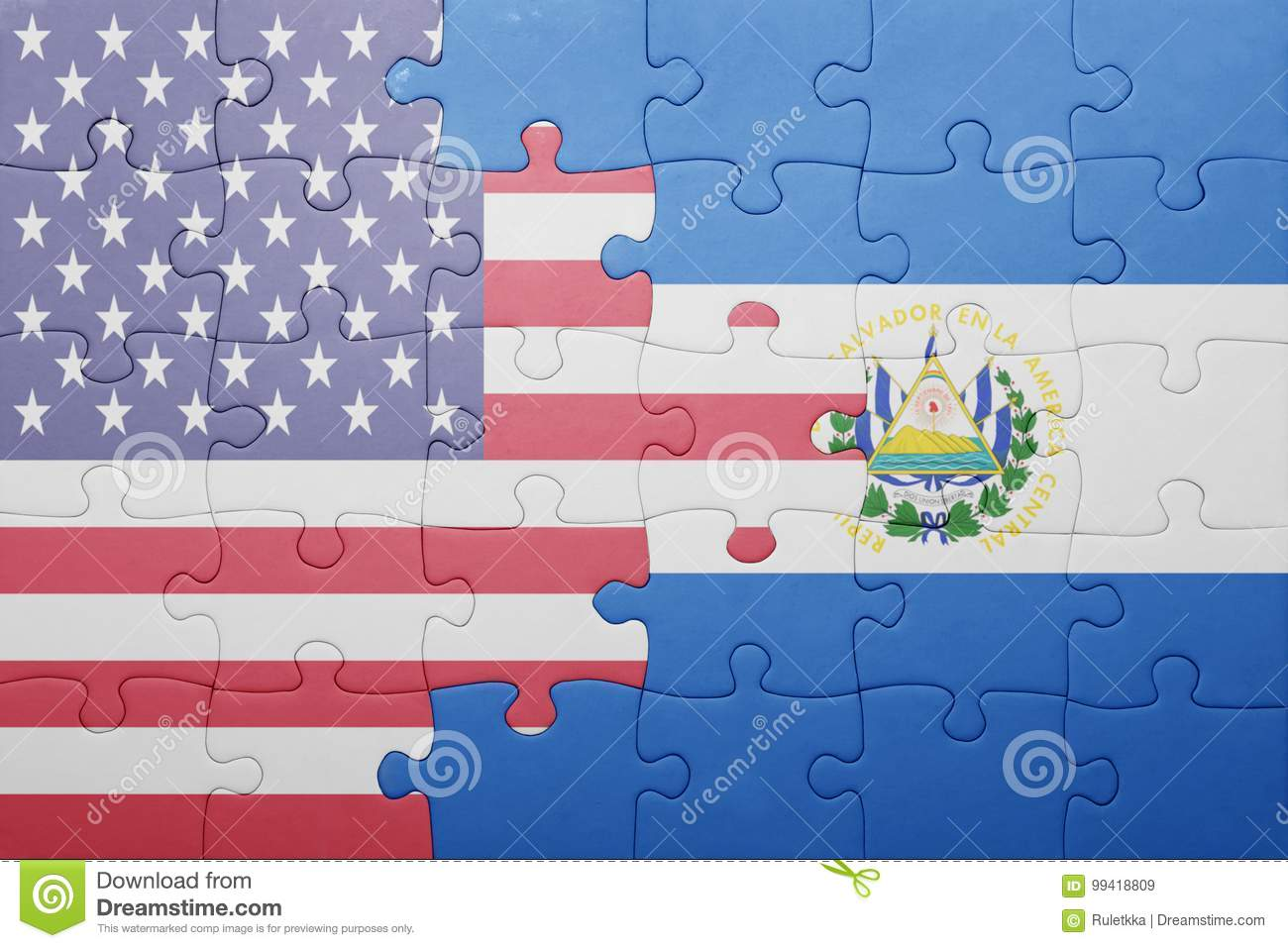 Puzzle with the national flag of united states of america and el salvador